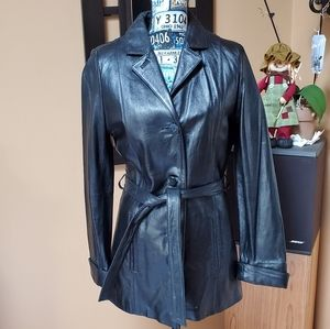 WILSONS LEATHER THINSULATE BLACK LEATHER COAT!